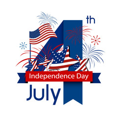 USA 4 july happy independence day design on white background