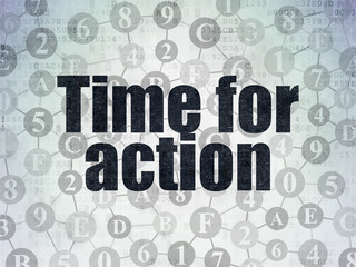 Time concept: Time for Action on Digital Data Paper background