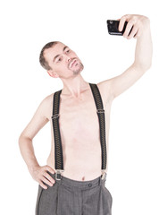 Funny naked man taking selfie isolated