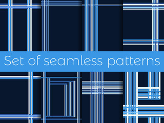 Set of seamless patterns with stripes in a cage. Lines on a blue background. Vector illustration