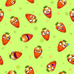 Seamless pattern with funny cartoon carrot characters.