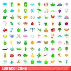 100 eco icons set, cartoon style