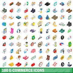 100 e-commerce icons set, isometric 3d style