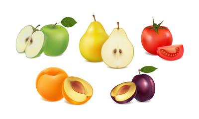 set of fresh fruit and vegetables on white background