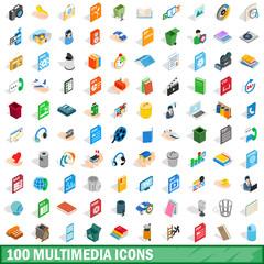 100 multimedia icons set, isometric 3d style