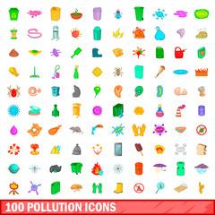 100 pollution icons set, cartoon style