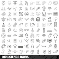 100 science icons set, outline style