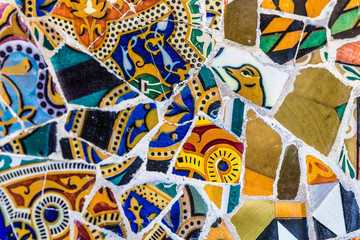 Detail Of Mosaic - Park Guell, Barcelona, Spain