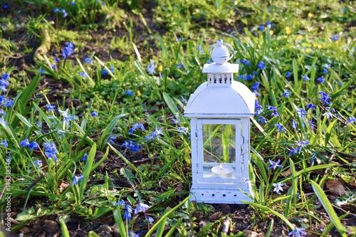 Grusskarte Laterne Im Garten Gartendekoration Im Fruhling Stock