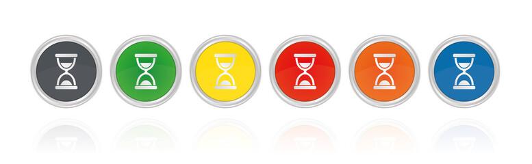 Silberne Buttons, bunt - Sanduhr