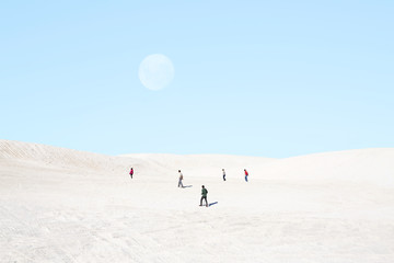 Group of people on white landscape