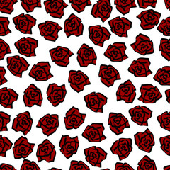 seamless pattern red roses with calligraphic black strokes
