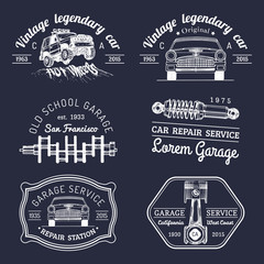 Garage logos set. Car repair emblems collection. Vector vintage sketched auto service signs for advertising posters etc.