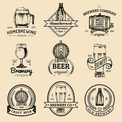Old brewery logos set. Kraft beer retro signs or icons with hand sketched glass,barrel etc.Vector vintage labels,badges.