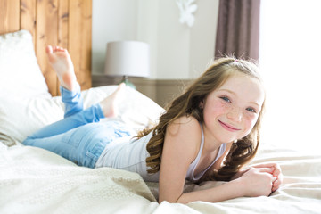 girl lay bed at home