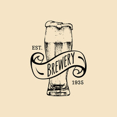 Kraft beer glass logo. Old brewery icon. Lager cup retro sign. Hand sketched ale illustration. Vector vintage label etc.