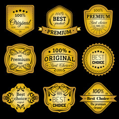 Premium logos set. Best choice emblems. Quality badges. Used for advertising, branding etc.