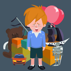 crying boy against pile of children's gifts vector cartoon