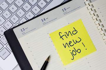 Paper note with the words - Find new job - in business desk. Best business concept
