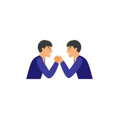Businessmen arm-wrestling vector icon
