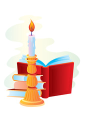 Candle with books