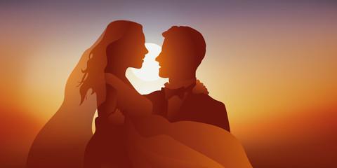 mariés - mariage - faire-part - couple - amoureux - Coucher de soleil