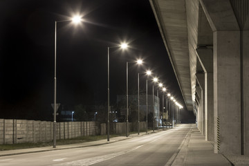 night road under the viaduct, Nitra, Slovakia