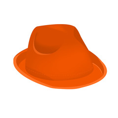 Orange unisex fashion hat, summer panama hat isolated vector