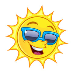 Funny drawing of a sun, he wears sunglasses