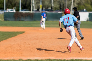 Runner on baseball field, copy space