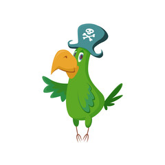Cute Parrot in pirate hat, vector cartoon