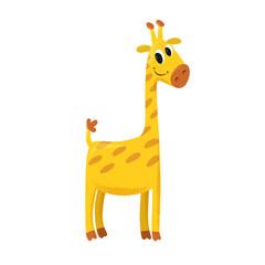 vector illustration of cartoon cute smiling giraffe