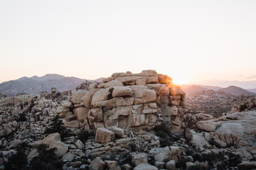 Sunset over the boulders in Joshua Tree National Park