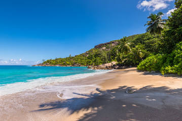 Untouched tropical beach in Seychelles - Sunny day on fantastic untouched tropical Anse Major beach, Mahe island, Seychelles. Summer holiday concept.