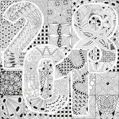Hand drawn zentangle background for coloring page. Number 2018