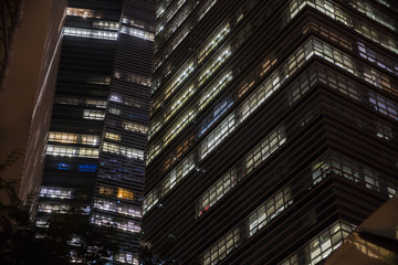 night skyscrapers closeup