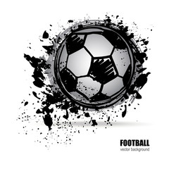 Football sketch. Vector illustration of a soccer ball. Grunge style.