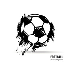 Vector illustration of a soccer ball. Football sketch. Grunge style. Dirty artistic design.