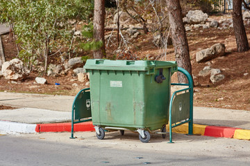 Ariel - 03 January 2017: Garbage cans on the street in Ariel, Israel