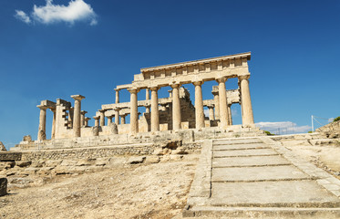 Aphaia temple on Aegina island in a summer day in Greece