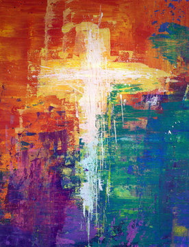 White abstract cross