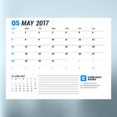 Calendar Template for May 2017. Week Starts Sunday. Design Print Template. Vector Illustration Isolated