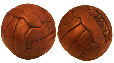 old brown leather ball for volleyball