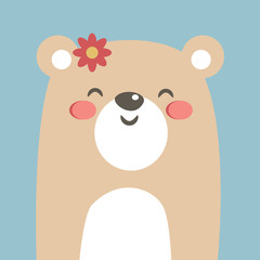 Cool and cute bear illustration. Cartoon bear. Vector stock.