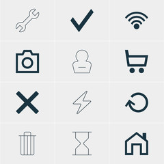 Vector Illustration Of 12 User Icons. Editable Pack Of Cordless Connection, Wheelbarrow, Mainpage And Other Elements.