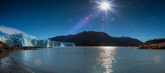 Trekkers on and around the Perito Moreno glacier outside El Calafate in Argentina's Patagonia region