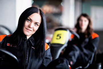Young girl karting racer