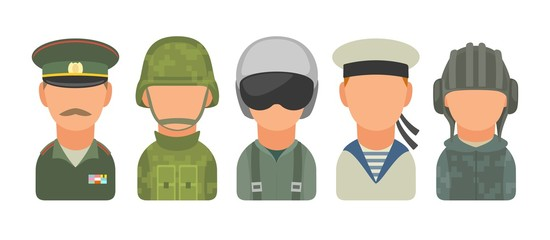 Set icon character russian military people. Soldier, officer, pilot, marine, trooper, sailor. Vector flat illustration on white background