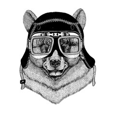 Vintage images of black Bear for t-shirt design for motorcycle, bike, motorbike, scooter club, aero club