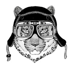 Vintage images of leopard for t-shirt design for motorcycle, bike, motorbike, scooter club, aero club